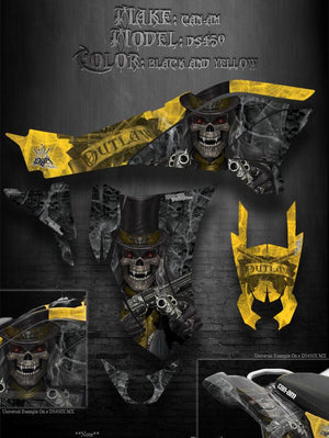 "CAN-AM DS450 GRAPHICS FOR BLACK & YELLOW XC MX PLASTICS ""THE OUTLAW"" PARTS DECAL - Darkside Studio Arts LLC."