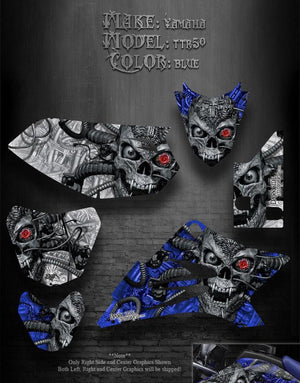 "YAMAHA TTR50 1996-2020 97 98 99 00 01 GRAPHICS KIT SET ""MACHINEHEAD"" BLUE SKULL - Darkside Studio Arts LLC."