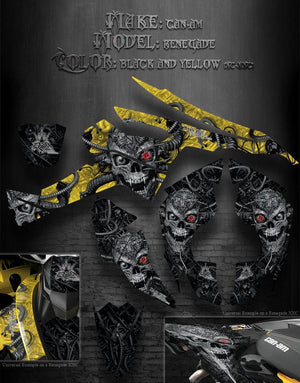 "CAN-AM RENEGADE GRAPHICS KIT XC XXC ""MACHINEHEAD"" BLACK AND YELLOW MODEL SKULL - Darkside Studio Arts LLC."
