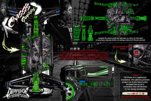 TRAXXAS E-REVO SUMMIT CHASSIS 'MACHINEHEAD' HOP UP GRAPHICS FITS OEM PARTS GREEN - Darkside Studio Arts LLC.