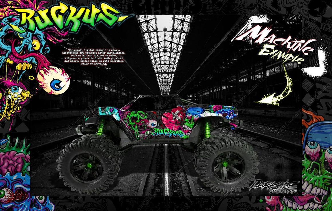 "TRAXXAS X-MAXX GRAPHICS WRAP DECALS ""RUCKUS"" FITS STOCK TRAXXAS OR PROLINE FORD RAPTOR BODY - Darkside Studio Arts LLC."