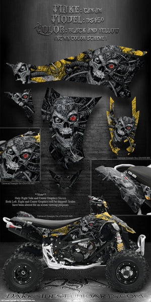 "CAN-AM DS450 ATV QUAD GRAPHICS DECALS KIT ""MACHINEHEAD"" XC / MX COLOR SCHEME - Darkside Studio Arts LLC."
