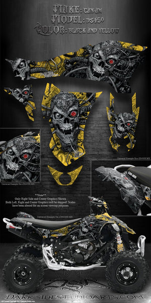 "CAN-AM DS450 ATV QUAD GRAPHICS DECALS KIT ""MACHINEHEAD"" BLACK / YELLOW COLOR SCHEME - Darkside Studio Arts LLC."