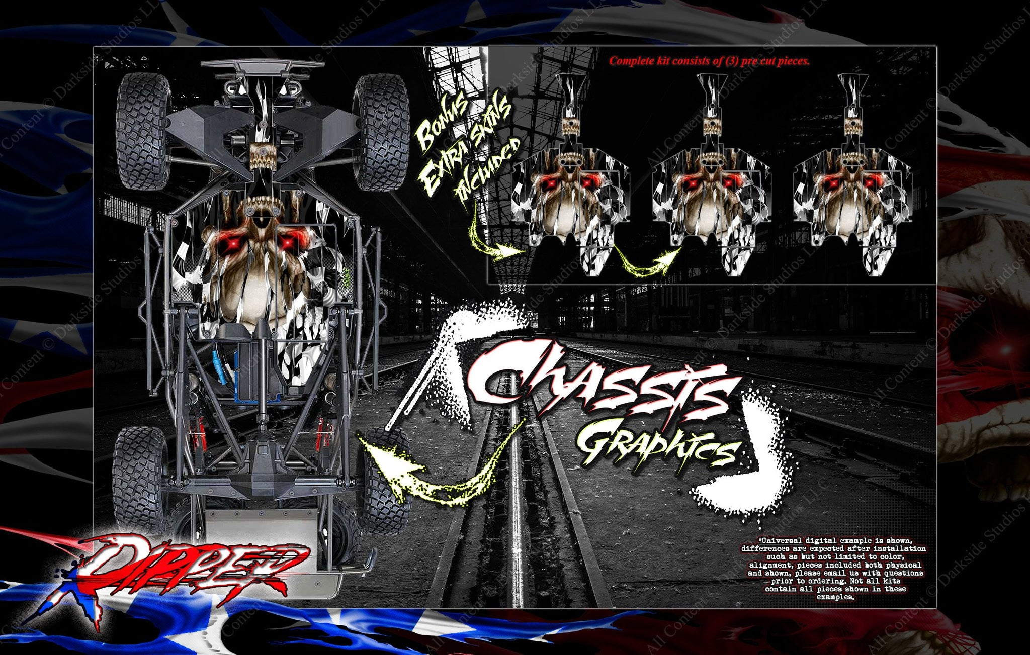 RIPPER WRAP TRAXXAS UNLIMITED DESERT RACER HOP-UP SKIN WITH CHASSIS CAGE DECALS