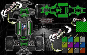TRAXXAS X-MAXX INTERIOR CHASSIS / SHOCK TOWER / BATTERY TRAY 'CARBON FIBER' GRAPHICS DECALS - Darkside Studio Arts LLC.