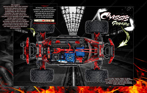TRAXXAS MAXX 4S 1/10 CHASSIS / SHOCK TOWER PRINTED FLAMES 'HELL RIDE' SKIN DECAL GRAPHICS KIT - Darkside Studio Arts LLC.