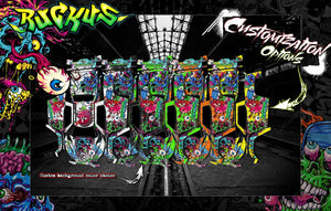"1989-1995 YZ125 YZ250 ""RUCKUS"" GRAPHICS WRAP SKIN FOR 2-STROKE DIRTBIKE DECALS - Darkside Studio Arts LLC."
