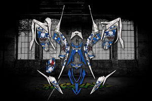 "YAMAHA RAPTOR 700 2013-2020 ""THE FREAK SHOW"" GRAPHICS FOR BLUE / WHITE MODEL - Darkside Studio Arts LLC."