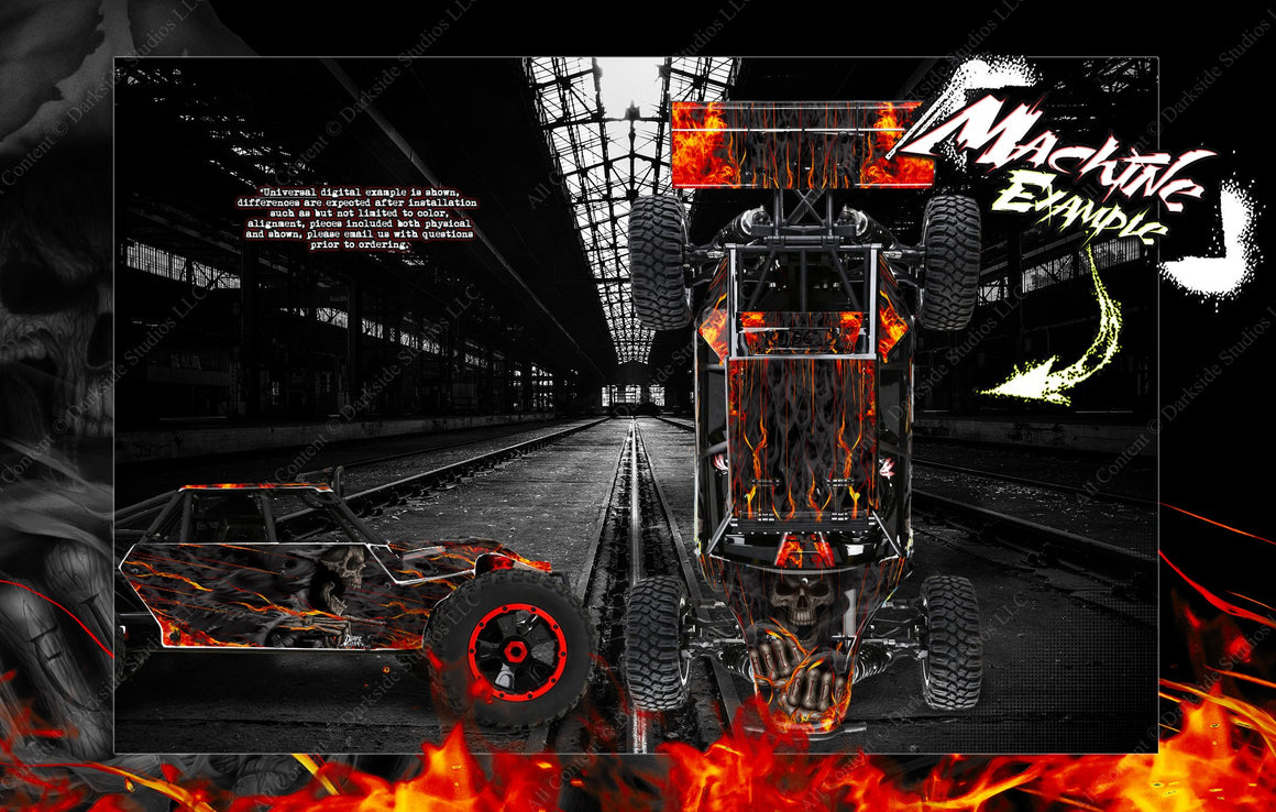 LOSI DESERT BUGGY XL / XL-E / XL-E 2.0 WRAP DECAL KIT 'HELL RIDE' FITS LOS250018 AND LOS350000 BODY PANELS - Darkside Studio Arts LLC.