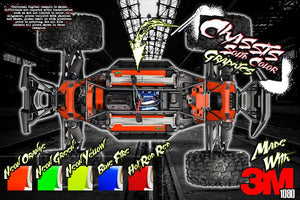 TRAXXAS X-MAXX INTERIOR CHASSIS / SHOCK TOWER / BATTERY TRAY NEON & SOLID COLOR GRAPHICS DECALS - Darkside Studio Arts LLC.