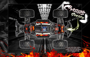 TRAXXAS X-MAXX INTERIOR CHASSIS / SHOCK TOWER / BATTERY TRAY 'HELL RIDE' GRAPHICS DECALS - Darkside Studio Arts LLC.