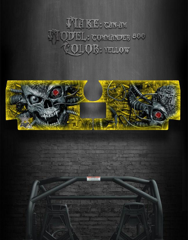 "CAN-AM COMMANDER 800 1000 XT TAILGATE GRAPHICS /""MACHINEHEAD/"" YELLOW MODEL SKULL"