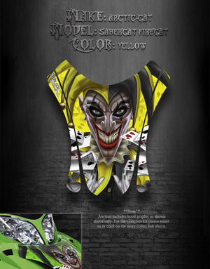 "ARCTIC CAT F7 03-06 YELLOW HOOD GRAPHICS SABERCAT ""THE JESTERS GRIN"" F5 F6 PARTS - Darkside Studio Arts LLC."