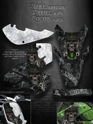 "KAWASAKI 00-13 KX65 02-09 KLX110 GRAPHICS KIT FOR BLACK PARTS ""THE OUTLAW"" WRAP - Darkside Studio Arts LLC."
