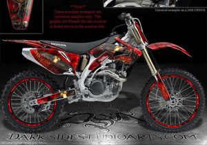 "HONDA 2004-2009 CRF250 CRF250R GRAPHICS KIT RED 06 07 DECALS ""HIGHWAY TO HELL"" - Darkside Studio Arts LLC."