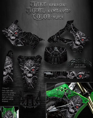 "KAWASAKI 1994-1998 KX250 KX125 ""MACHINEHEAD"" GRAPHICS FOR BLACK PLASTICS PARTS - Darkside Studio Arts LLC."