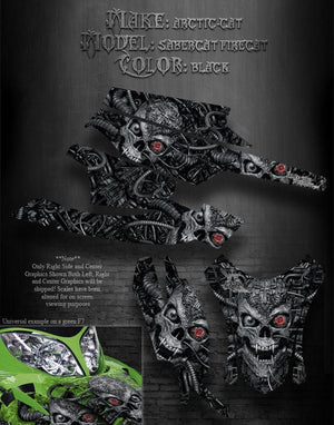 "ARCTIC CAT BLACK FIRECAT SABERCAT F5 F6 F7 03-06 GRAPHICS WRAP ""MACHINEHEAD"" - Darkside Studio Arts LLC."