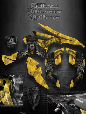 "CAN-AM RENEGADE GRAPHICS KIT SET ""THE OUTLAW"" DESIGNED FOR ALL YELLOW PLASTICS - Darkside Studio Arts LLC."