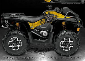"CAN-AM OUTLANDER 2012-2014 ""MACHINEHEAD"" PARTIAL SIDE PANEL RED DECALS GRAPHICS - Darkside Studio Arts LLC."