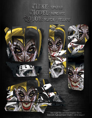 "YAMAHA BANSHEE ATV GRAPHICS ""THE JESTERS GRIN"" YELLOW AND BLACK VERSION - Darkside Studio Arts LLC."