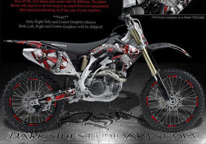 "HONDA 2005-2008 CRF450 CRF450R GRAPHICS KIT ""THE FREAK SHOW"" FOR BLACK PLASTICS - Darkside Studio Arts LLC."