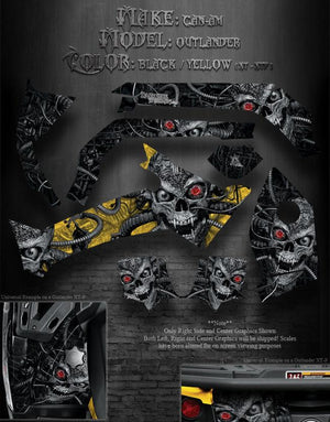 "CAN-AM OUTLANDER 2012-2013 XT XT-P 1000 800R GRAPHICS KIT ""MACHINEHEAD"" SKULLS - Darkside Studio Arts LLC."