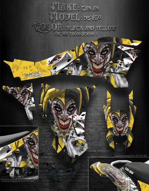 "CAN-AM DS450 GRAPHICS DECALS ""THE JESTERS GRIN"" YELLOW AND BLACK XC MX COLORS - Darkside Studio Arts LLC."