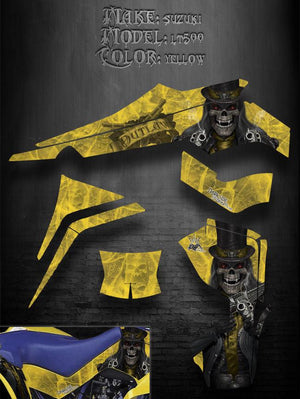 "SUZUKI LT500 QUADRACER QUADZILLA GRAPHICS DECALS ""THE OUTLAW"" FOR YELLOW PARTS - Darkside Studio Arts LLC."