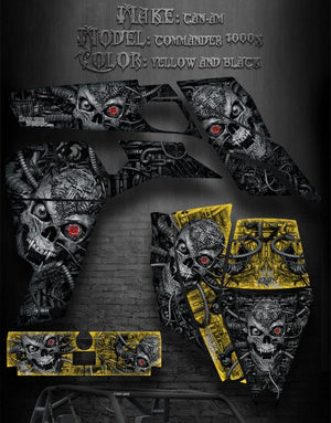 "CAN-AM COMMANDER 1000X 90% COVERAGE GRAPHICS ""MACHINEHEAD"" SKULL REAPER CANAM - Darkside Studio Arts LLC."