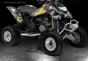 "CAN-AM DS650 ""THE FREAK SHOW"" GRAPHICS DECALS KIT FOR BLACK PLASTICS ALL YEARS - Darkside Studio Arts LLC."