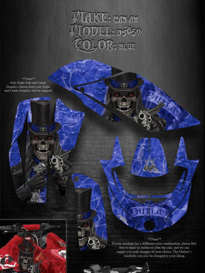 "CAN-AM DS650 GRAPHICS FOR BLUE PLASTICS ""THE OUTLAW"" DECAL STICKER KIT PARTS - Darkside Studio Arts LLC."