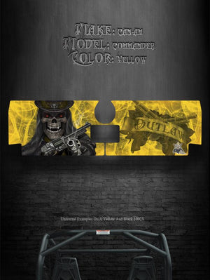 "CAN-AM COMMANDER TAILGATE GRAPHICS KIT ""THE OUTLAW"" FOR YELLOW BODY PANELS - Darkside Studio Arts LLC."