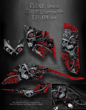 "YAMAHA RAPTOR 660 ATV GRAPHICS KIT SET ""MACHINEHEAD"" RED MODEL SKULL REAPER - Darkside Studio Arts LLC."