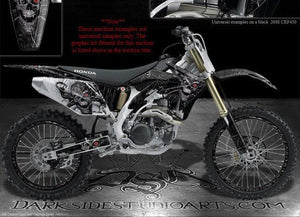"HONDA CR500 DECALS GRAPHICS KIT ""MACHINEHEAD"" FOR RED PLASTICS PARTS RIM DECALS - Darkside Studio Arts LLC."