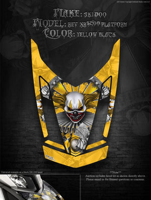 "SKI-DOO SLED GRAPHICS 2009-14 REV XR 1200 ""THE FREAK SHOW"" FOR YELLOW PARTS WRAP - Darkside Studio Arts LLC."