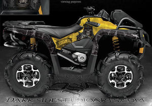 "CAN-AM 2013 OUTLANDER XMR GRAPHICS KIT ""THE OUTLAW"" GRAPHICS YELLOW BLACK DECALS - Darkside Studio Arts LLC."