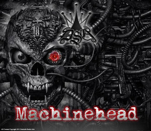 "POLARIS PREDATOR 500 ATV GRAPHICS ""MACHINEHEAD"" BLACK MODEL SKULL - Darkside Studio Arts LLC."