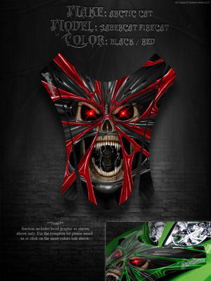 "ARCTIC CAT FIRECAT F5 F6 F7 2003-06 HOOD GRAPHICS DECALS RED ""THE DEMONS WITHIN"" - Darkside Studio Arts LLC."