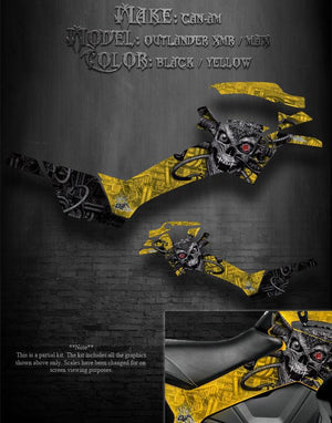 "CAN-AM 2013-14 OUTLANDER XMR & MAX ""MACHINEHEAD"" GRAPHICS FOR SIDE PARTS YELLOW - Darkside Studio Arts LLC."