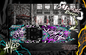 TRAXXAS SPARTAN M41 BOAT CUSTOM WRAP DECAL GRAPHICS KIT 'AMPED' FITS 5711X / 5764 - Darkside Studio Arts LLC.