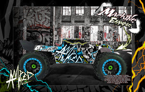 ARRMA KRATON 8s / 6s 'AMPED' GRAPHICS WRAP DECAL KIT FOR PRO-LINE BRUTE BASH UNBREAKABLE BODY