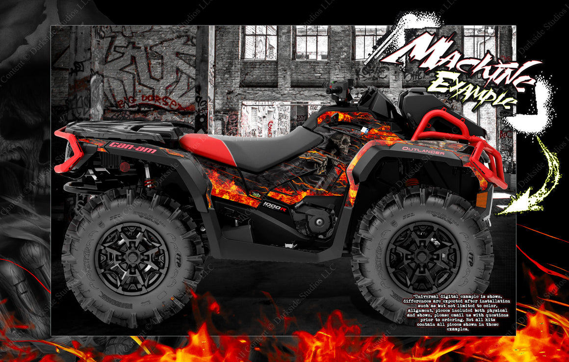 CAN-AM OUTLANDER XMR MAX XT 'HELL RIDE' GRAPHICS WRAP SKIN DECAL KIT FULL COVERAGE - Darkside Studio Arts LLC.