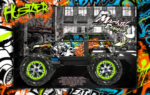 "TRAXXAS SUMMIT GRAPHICS WRAP DECALS ""HUSTLER"" FOR OEM BODY PARTS - Darkside Studio Arts LLC."
