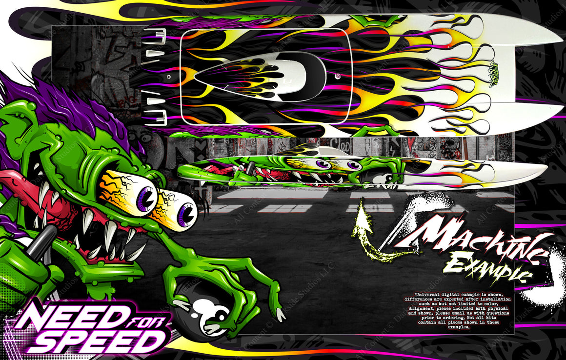 BOAT HULL WRAP DECAL GRAPHICS KIT 'NEED FOR SPEED' FITS PRO-BOAT BLACKJACK 24 PRB08007 - Darkside Studio Arts LLC.
