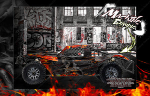 LOSI 5IVE-T / 2.0 STOCK AND 30° NORTH BIG FLEX BODY WRAP DECAL HOP-UP CUSTOM KIT PARTS 'HELL RIDE' - Darkside Studio Arts LLC.