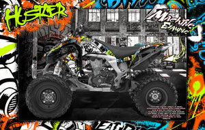 KAWASAKI KFX450R GRAPHICS WRAP DECAL KIT 'HUSTLER' FITS OEM PLASTICS / PARTS - Darkside Studio Arts LLC.