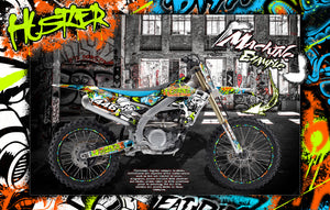 "GRAPHICS WRAP FOR 2010-2020 YZF250 YZF450 AND YZ250FX YZ450FX ""HUSTLER"" WITH RIM DECALS - Darkside Studio Arts LLC."
