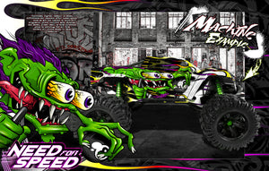 TRAXXAS X-MAXX GRAPHICS WRAP DECALS 'NEED FOR SPEED' FITS PROLINE FORD RAPTOR, CHEVY SILVERADO, BRUTE BASH & STOCK BODY - Darkside Studio Arts LLC.