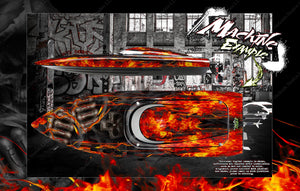 "PRO BOAT IMPULSE SHOCKWAVE SONICWAKE 36"" ZELOS 36"" (MISS GEICO) BOAT CUSTOM WRAP DECAL GRAPHICS KIT 'HELL RIDE' - Darkside Studio Arts LLC."