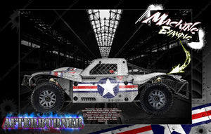 LOSI 5IVE-T / STOCK & 30° NORTH BIG FLEX (WHICH CAN FIT 2.0 CHASSIS AS WELL ) BODY WRAP DECAL HOP-UP CUSTOM KIT PARTS 'AFTERBURNER' - Darkside Studio Arts LLC.